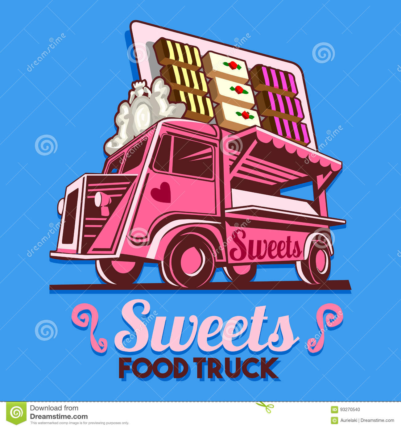 Food Truck Sweets Chocolate Delivery Service Vector Logo Stock ...