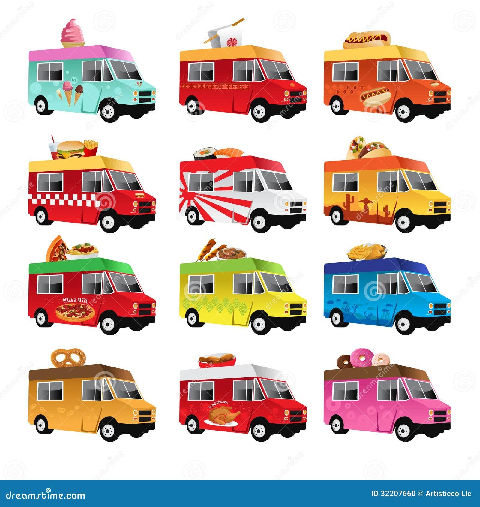 vector illustration of food truck icon designs.