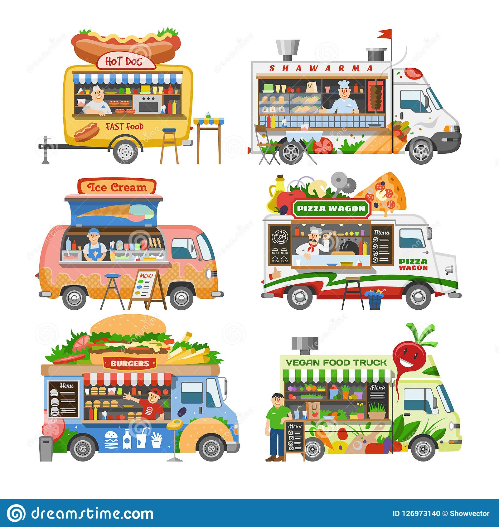 Food truck vector street food-truck vehicle and fastfood delivery transport with hotdog or pizza illustration set of man