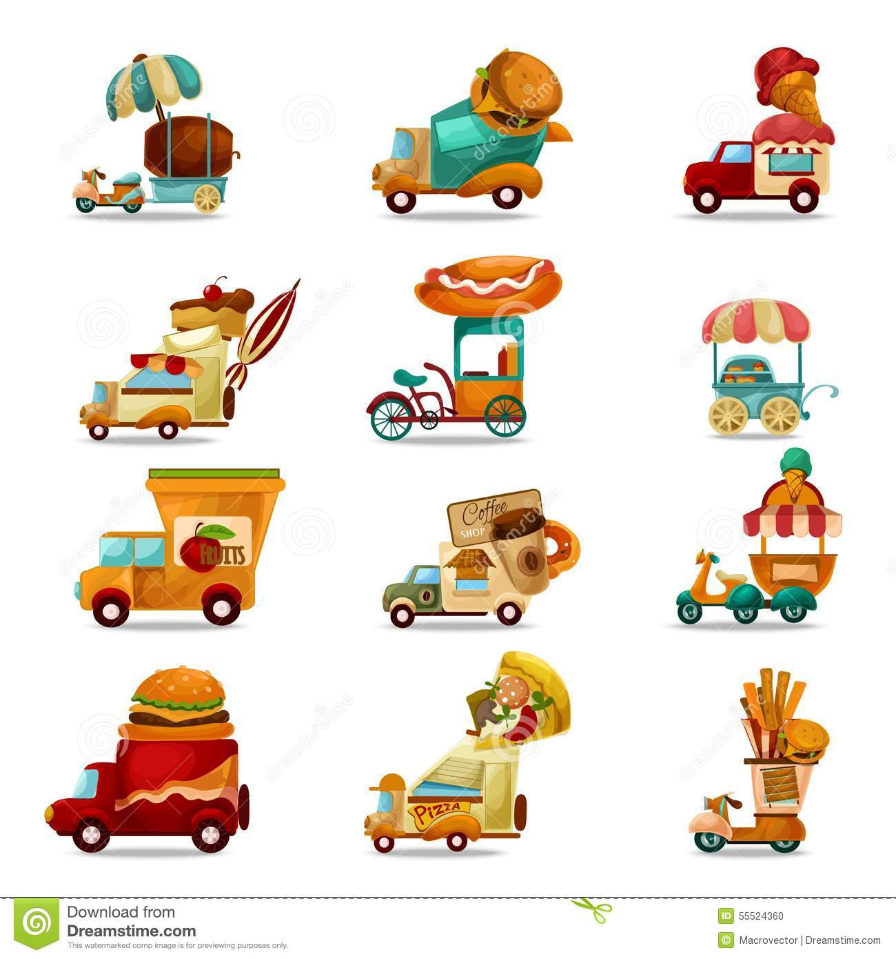 Food Trucks Set Stock Vector Image 55524360