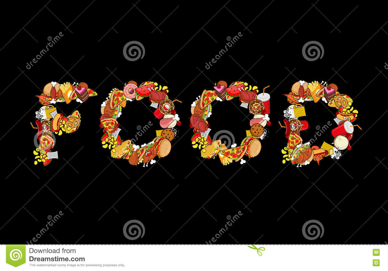food typography letters of feed lettering of meat pizza and t food typography letters of feed lettering of meat pizza and t royalty