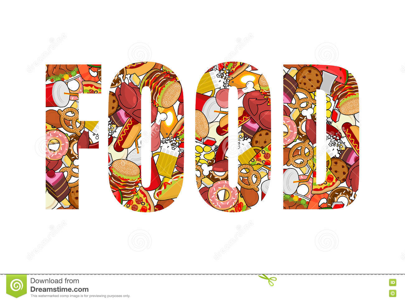 Food Typography Letters Of Feed Lettering Of Meat Stock