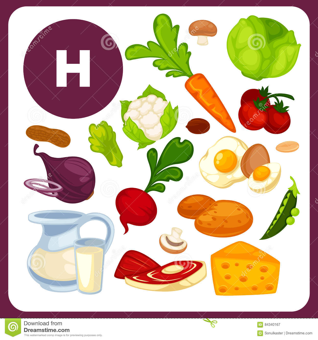 Food with vitamin H, B10 stock vector. Illustration of carrots