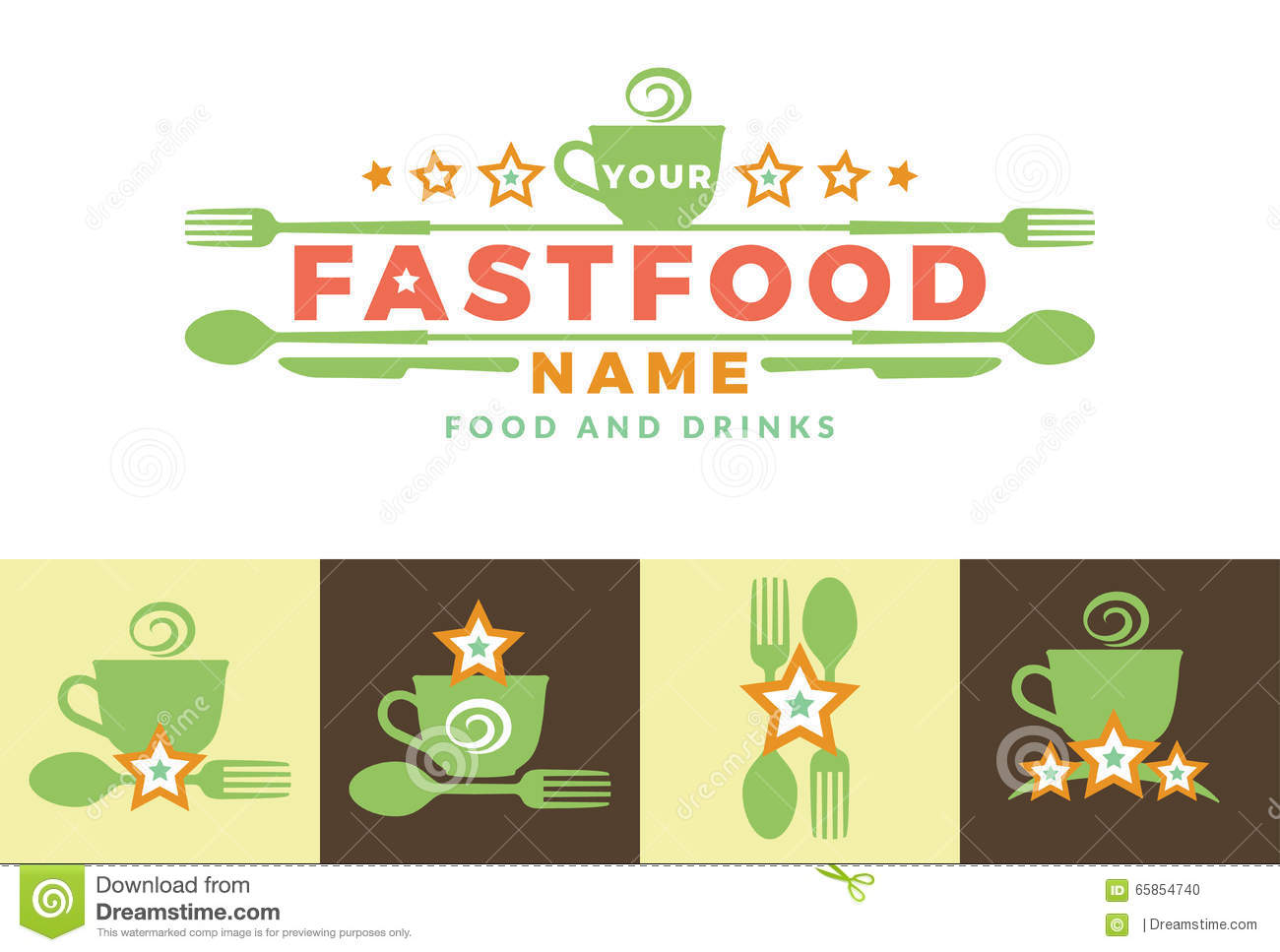 Food Word Sign Logo Icon Design Template Elements With Spoon And ...