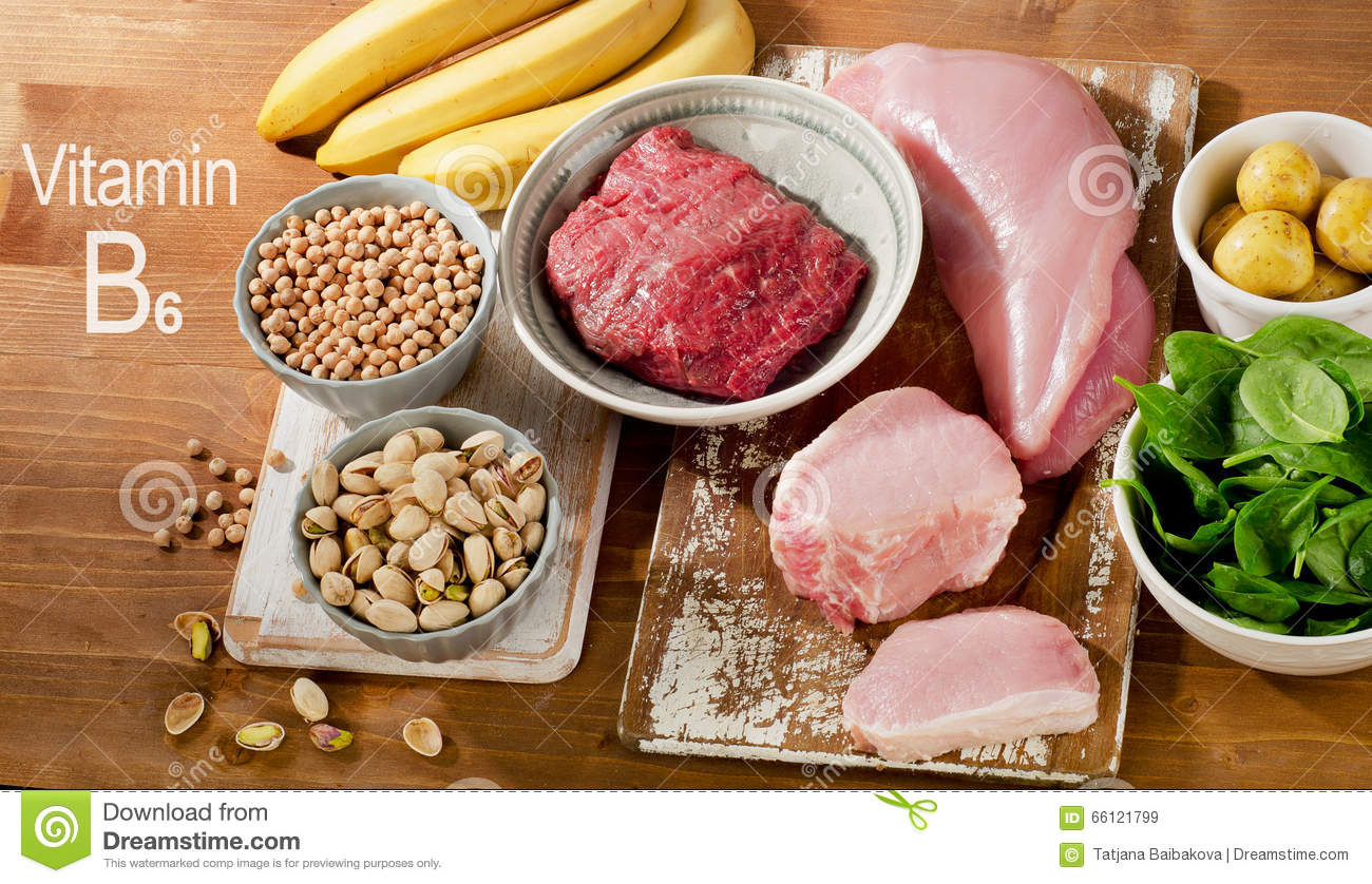 Foods Highest In Vitamin B6 On A Wooden Table  Stock Image