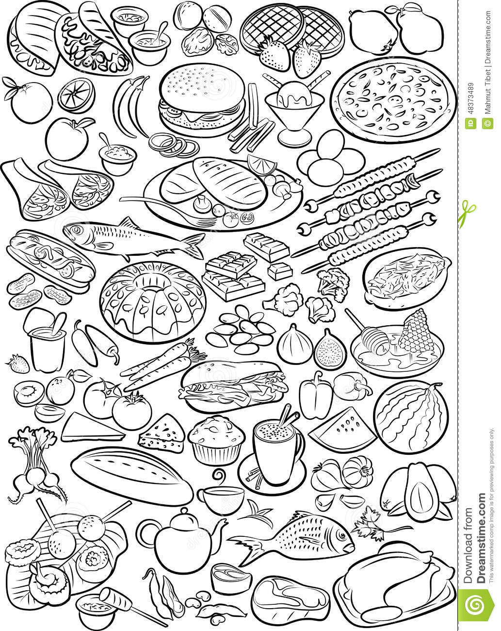 Line Art Food : Foods stock vector image