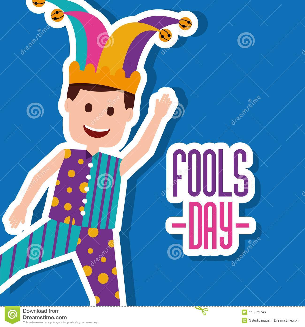Fools Day Greeting Card Stock Vector Illustration Of Bright 110679746