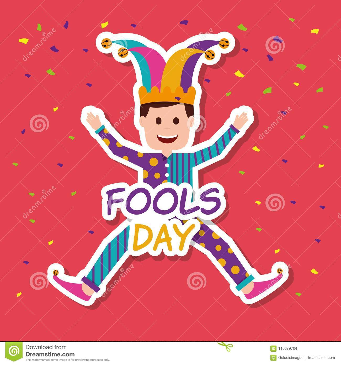 Fools Day Greeting Card Stock Vector Illustration Of Clipart