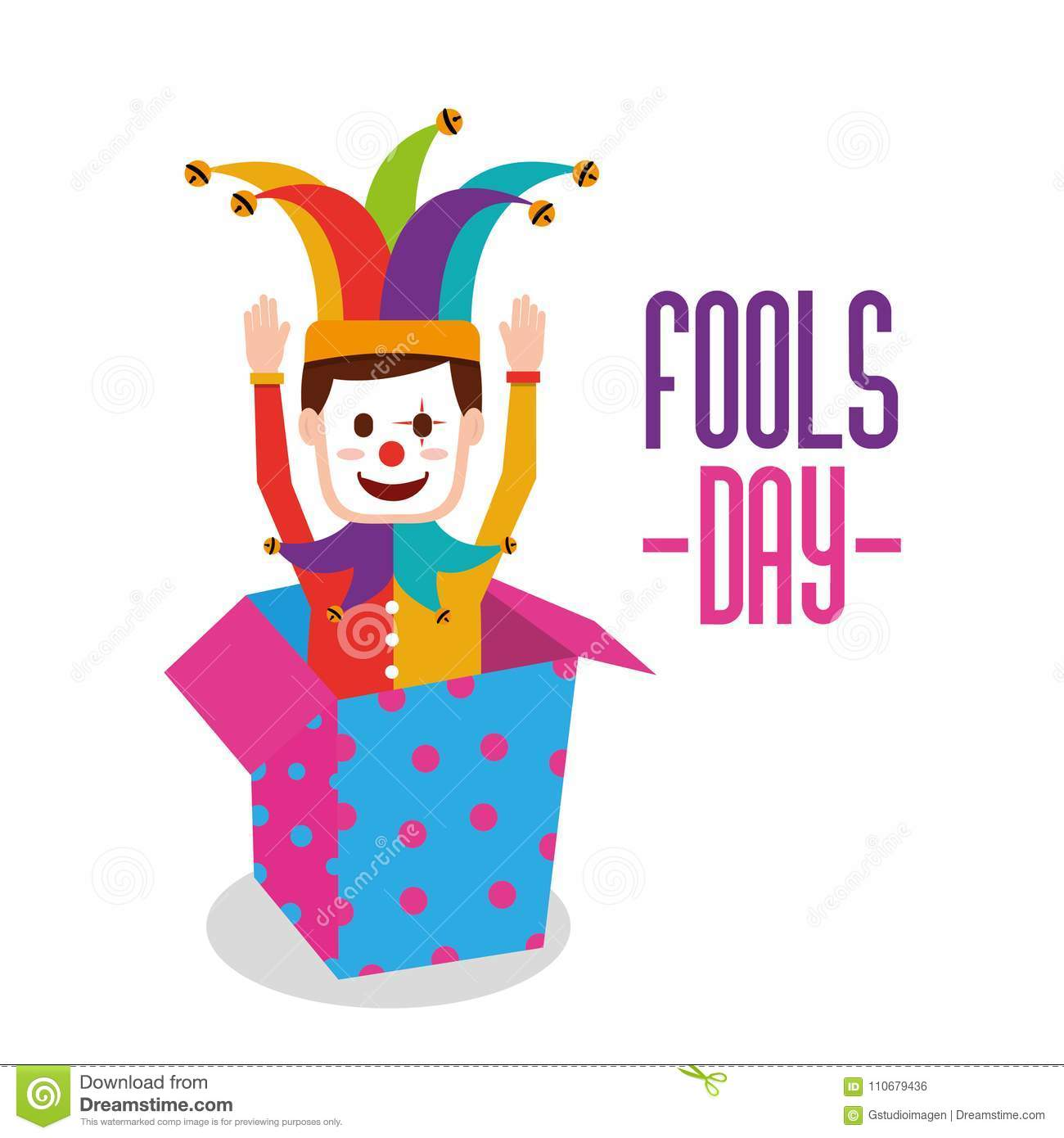 Fools day greeting card stock vector. Illustration of comedian ...
