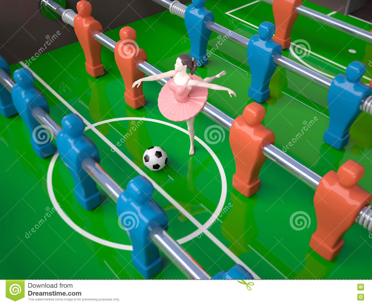 blue female foosball girl players red table