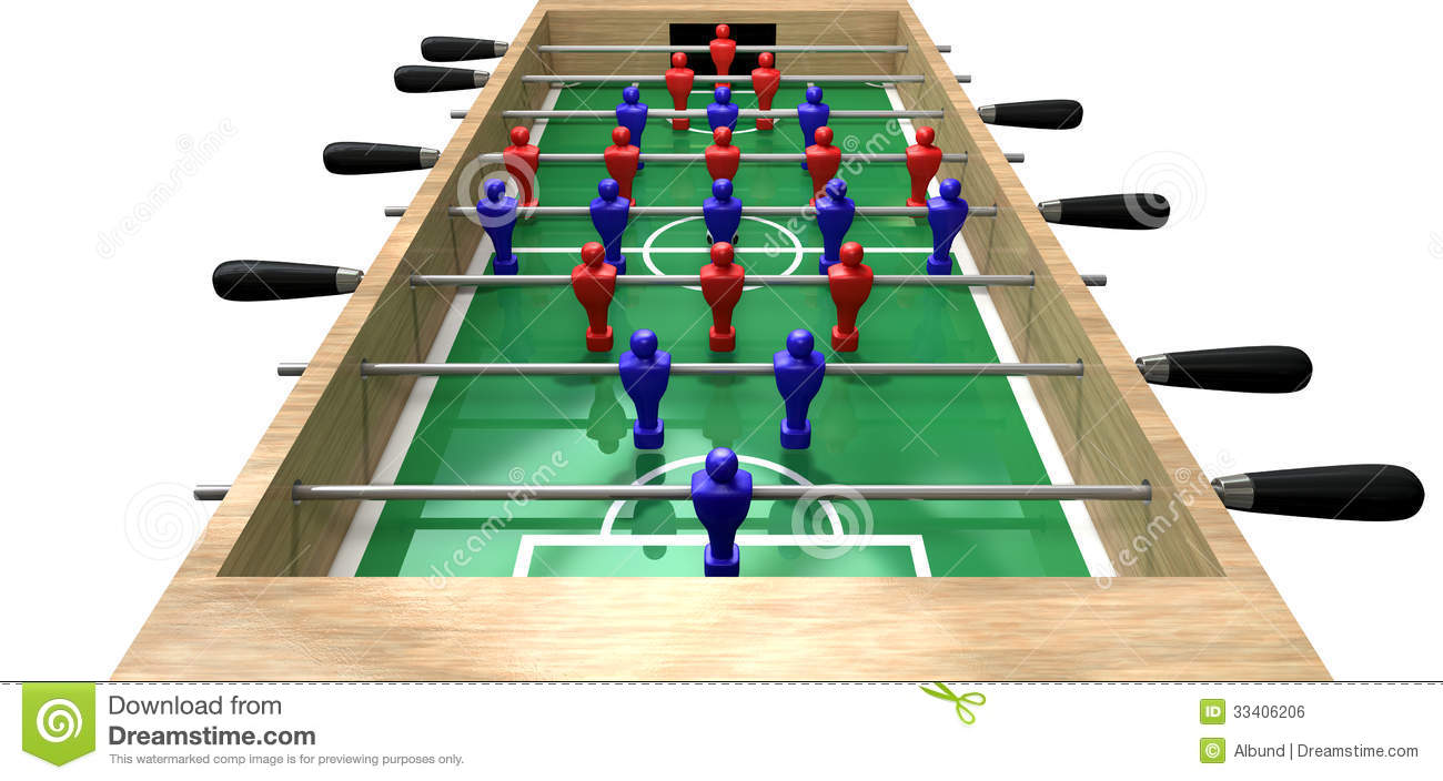 perspective view of a wooden foosball table showing a blue and red ...