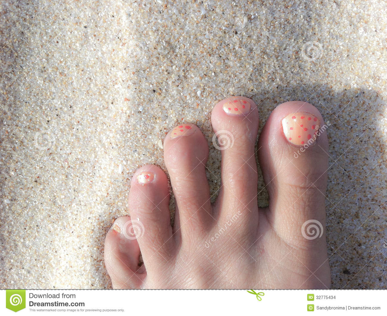Foot On A Beach With Painted Toe Nails Stock Photo - Image of sand ...