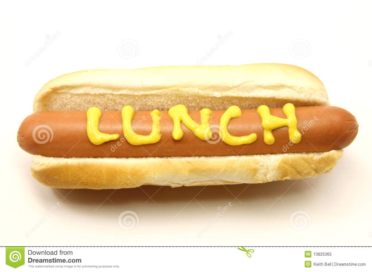 Foot Long Hot Dog With Lunch Written In Mustard Royalty Free Stock ...