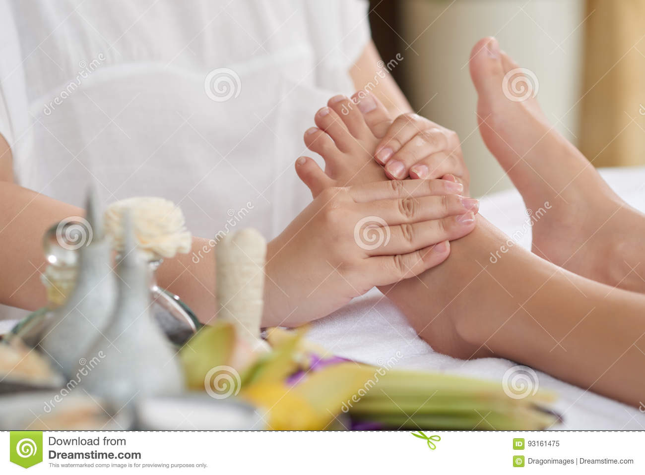 Baby Foot De Salon foot massage after long working day stock image - image of