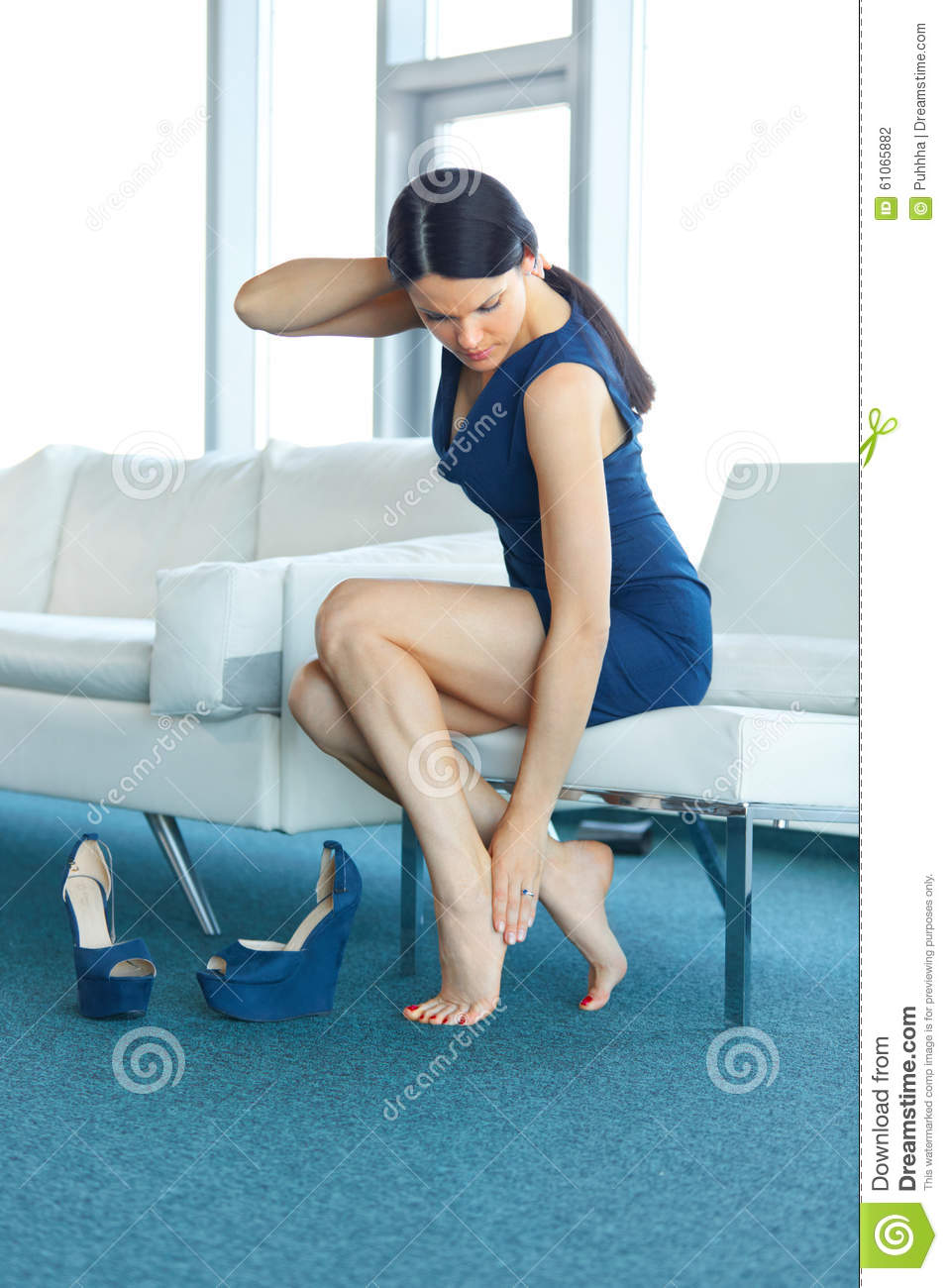 exhausted woman in heels