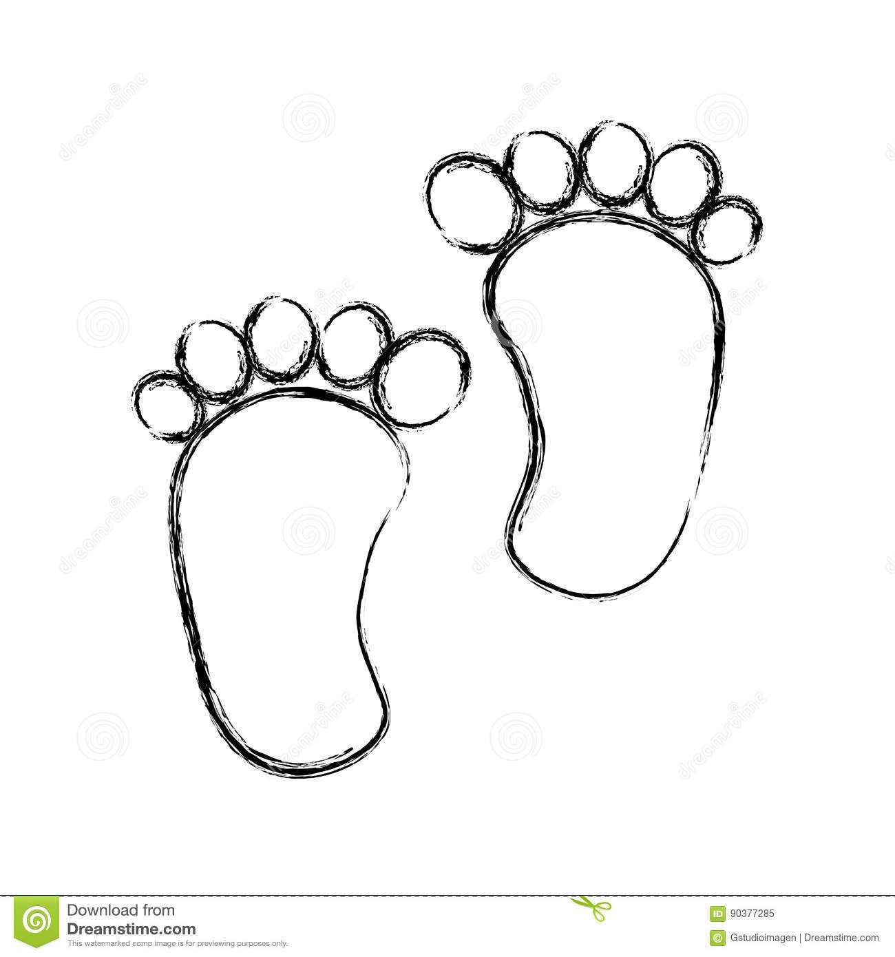foot print baby isolated icon stock vector illustration of