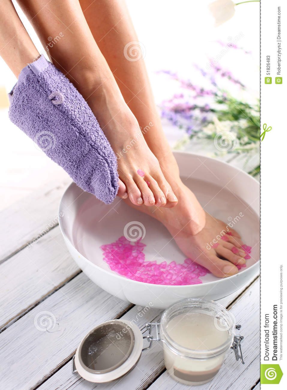 Foot scrub, pedicure stock image. Image of massaging ...