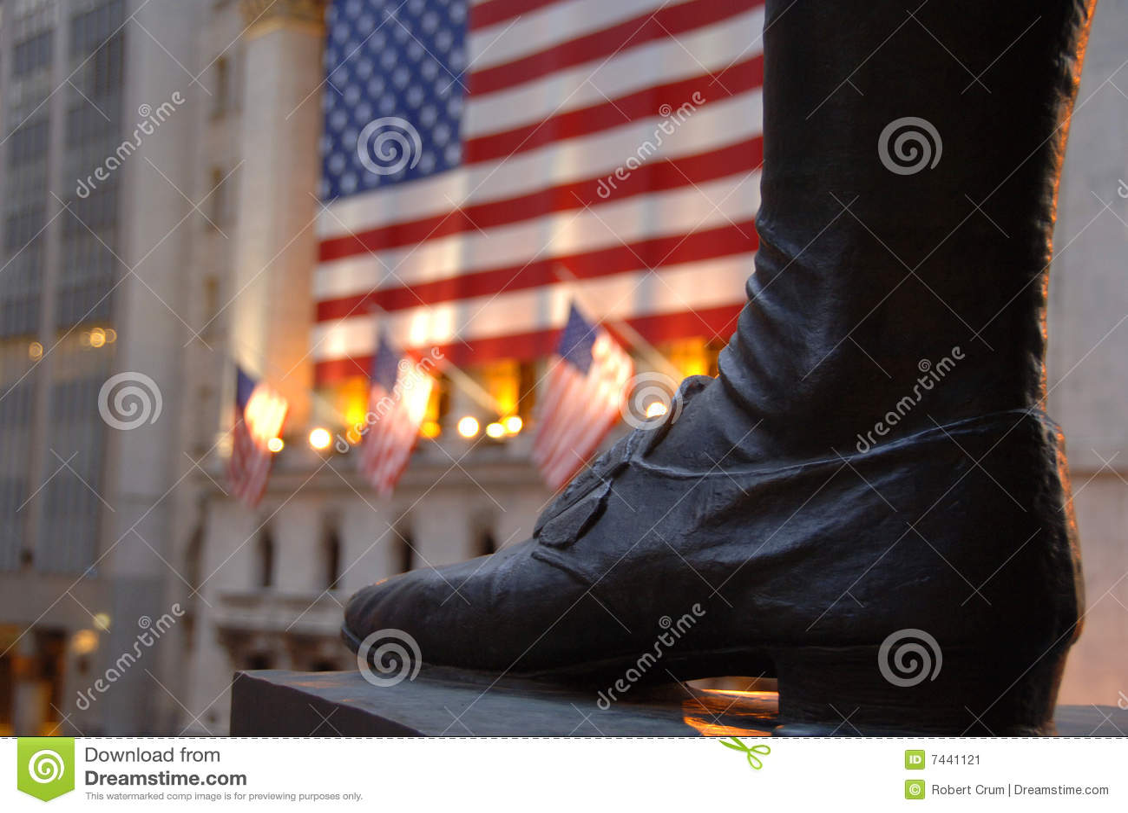 Foot of statue of George Washington on Wall Street