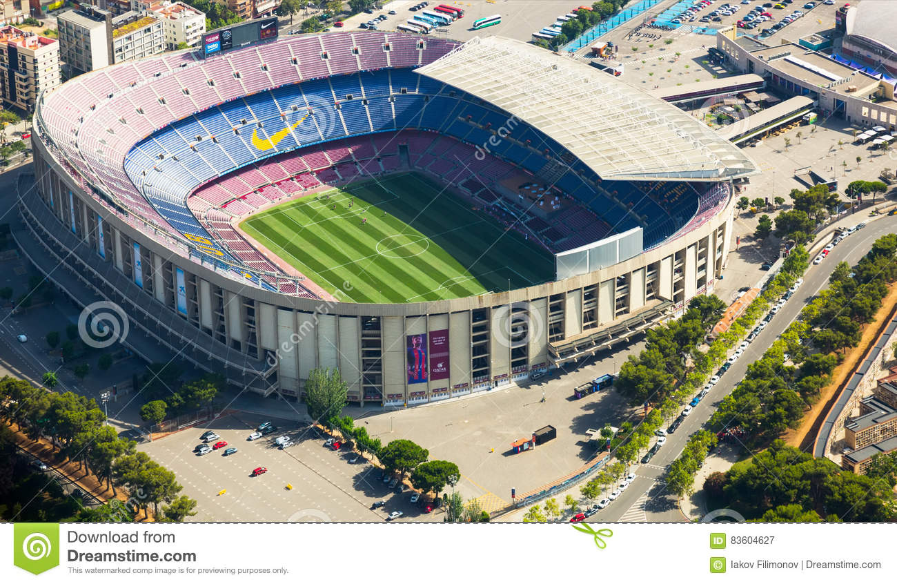 footbal stadium nou camp in barcelona editorial photography