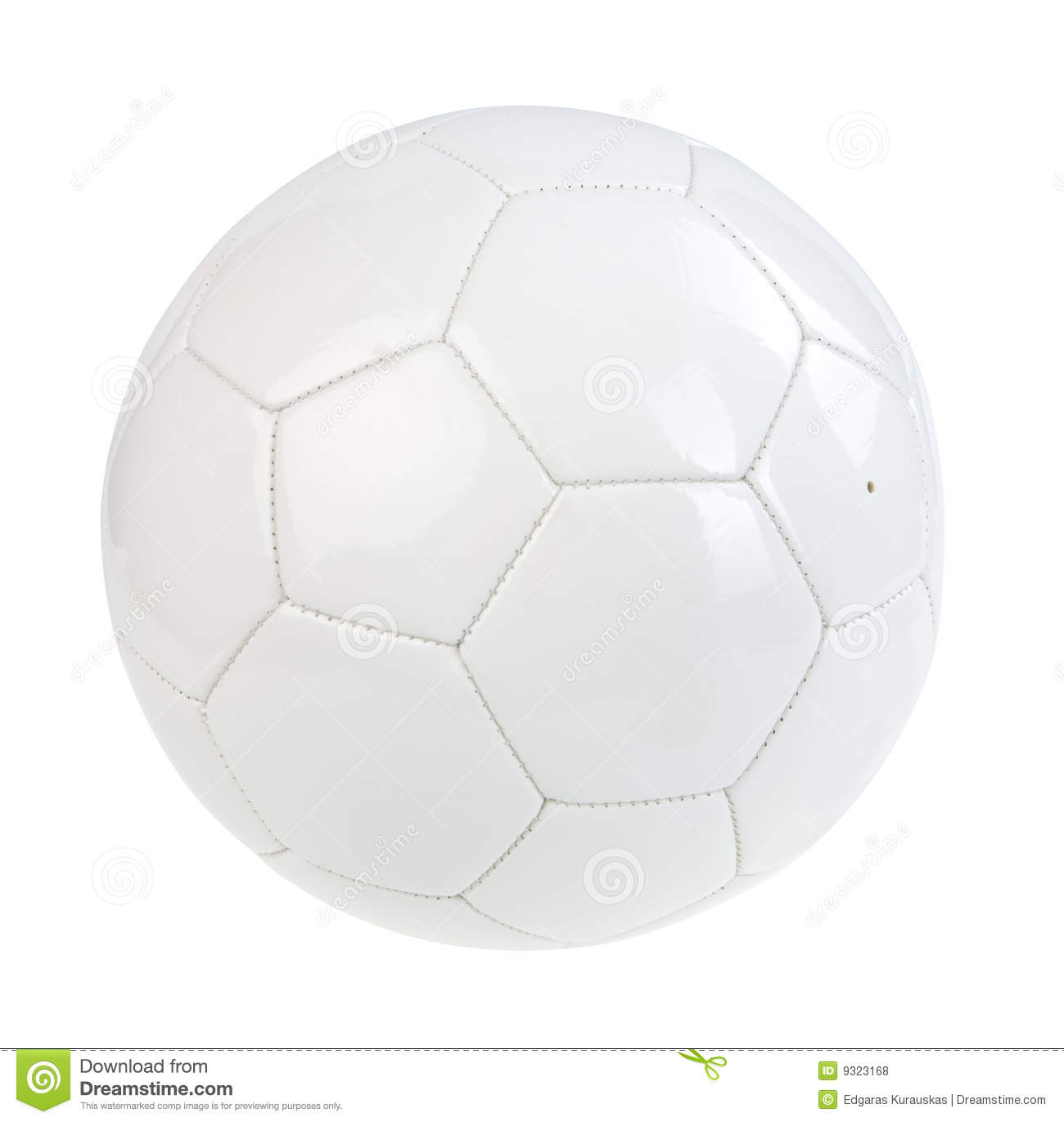 White football ball isolated on white. Clipping path.