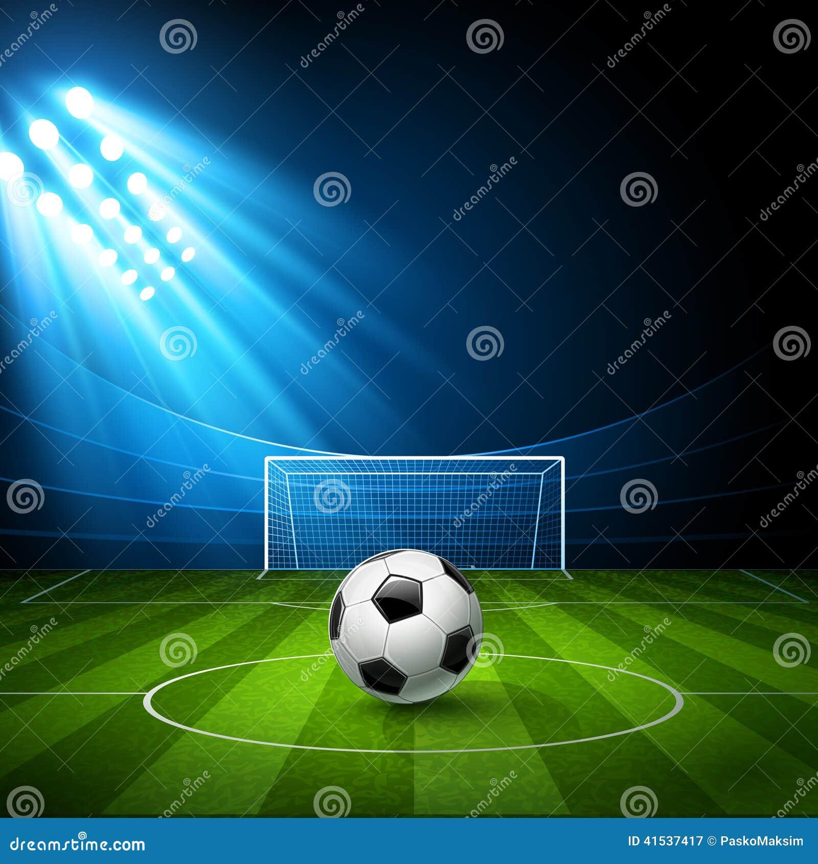 Stadium Lights Svg: Football Arena, Stadium With A Soccer Ball Stock Vector