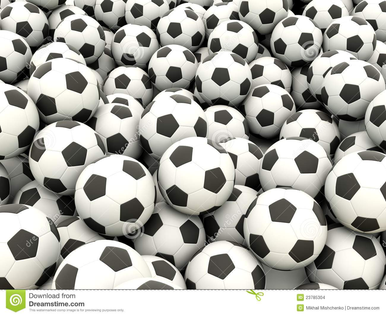 Football background. Lot of black and white balls.