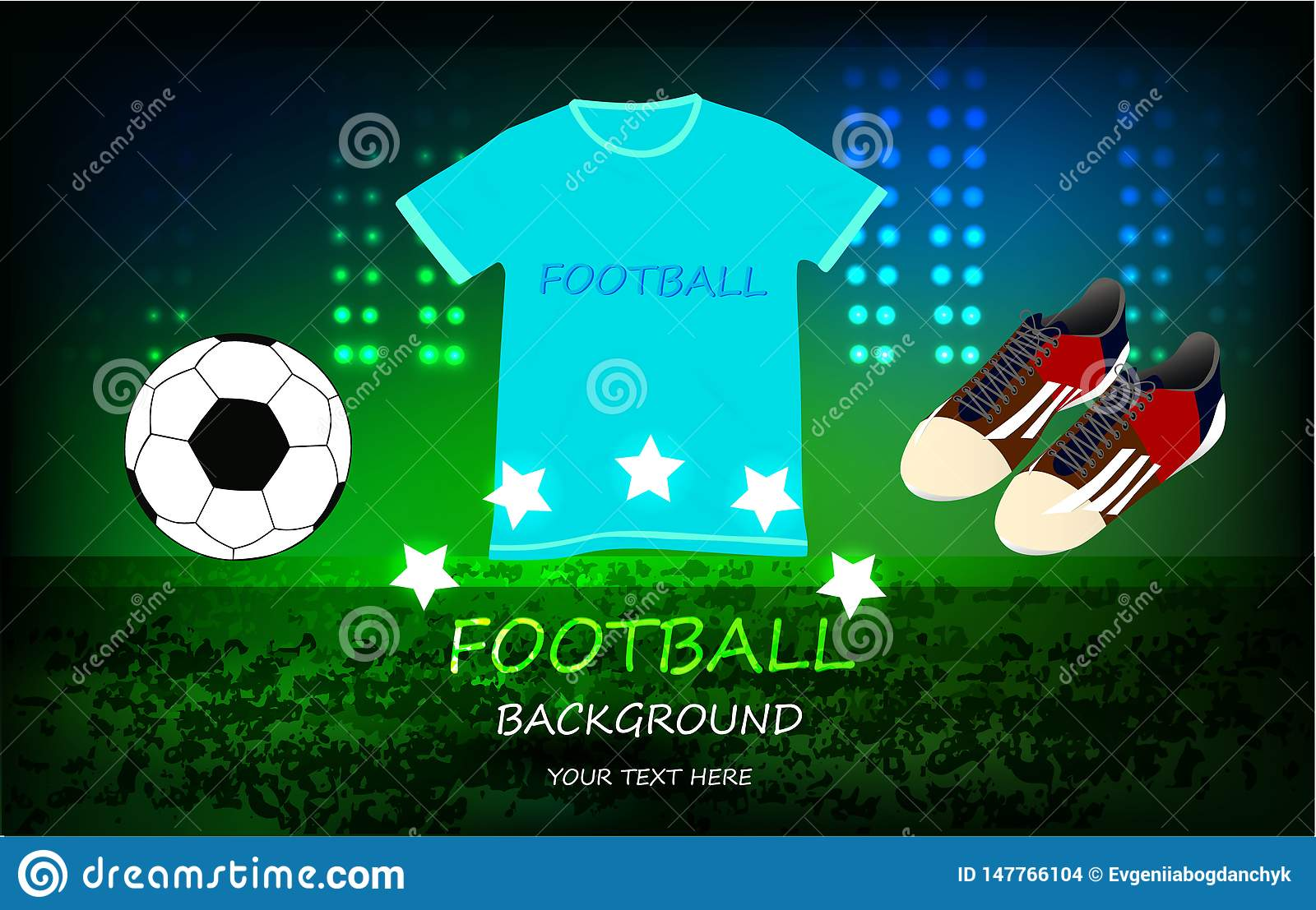 Football background, play arena bright sport ground
