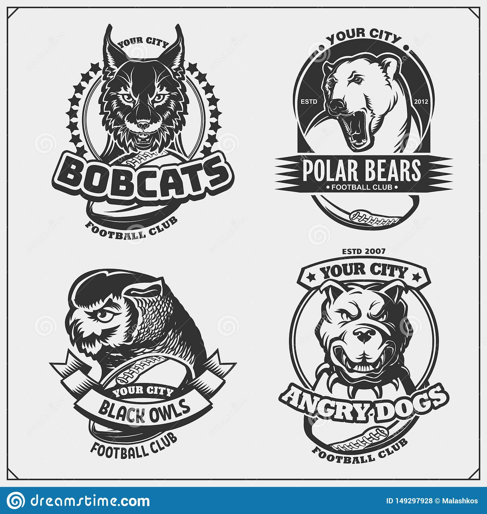 Football badges, labels and design elements. Sport club emblems with polar bear, bobcat, pitbull and owl.