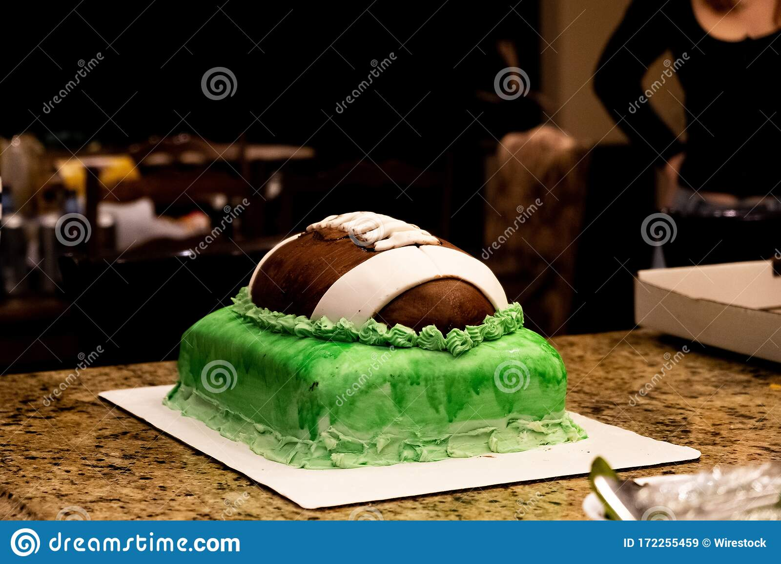 Magnificent Football Ball Birthday Cake On A Table Stock Image Image Of Personalised Birthday Cards Veneteletsinfo