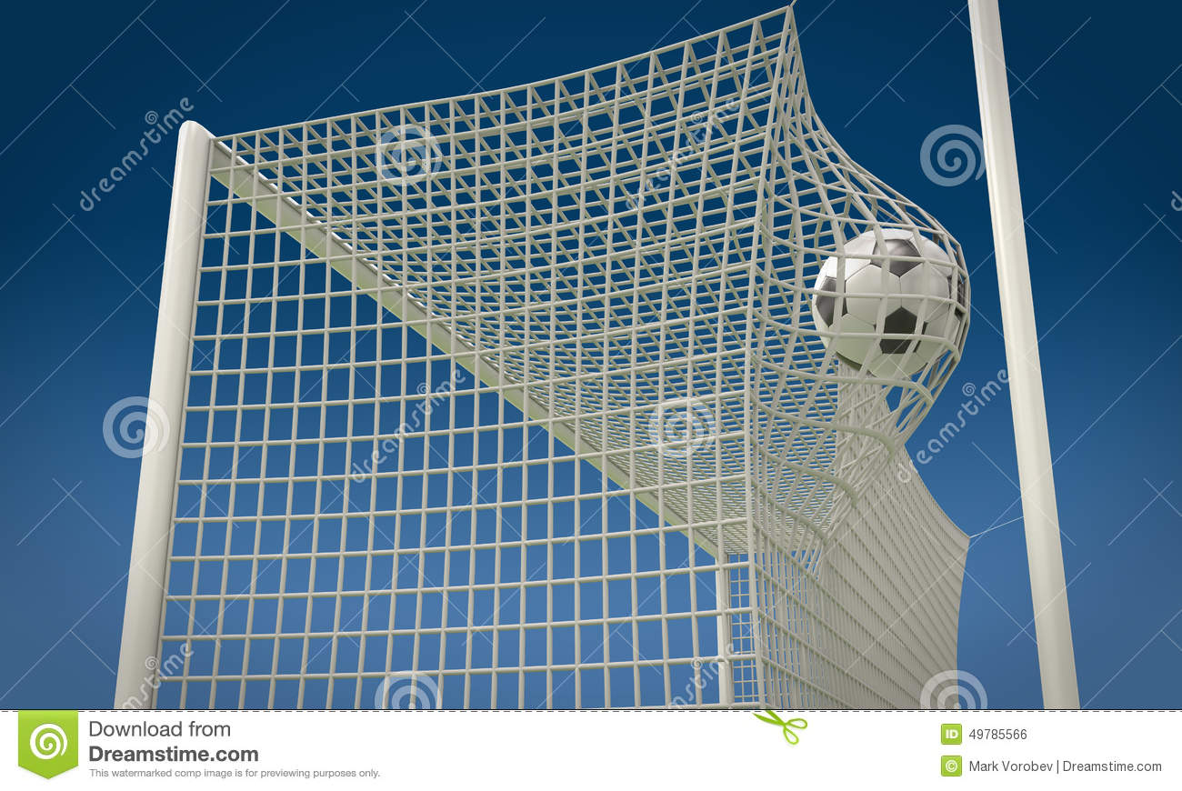 football flies in goalkeeper gate stock photo