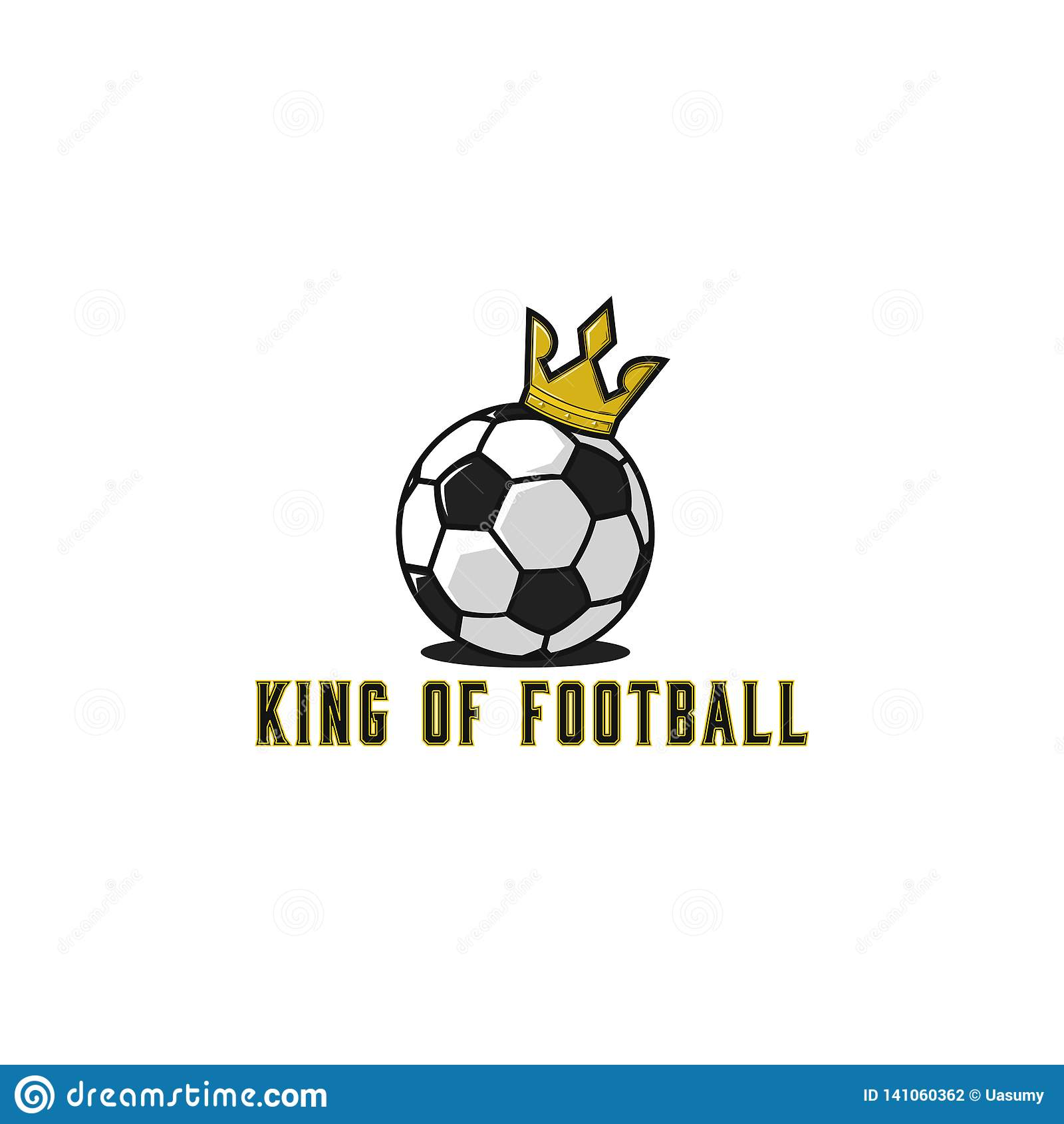 Football Ball Logo In Gold Crown Lettering T Shirt Print Soccer Emblem Mockup Sport Tournament Sticker Stock Vector Illustration Of Emblem College 141060362