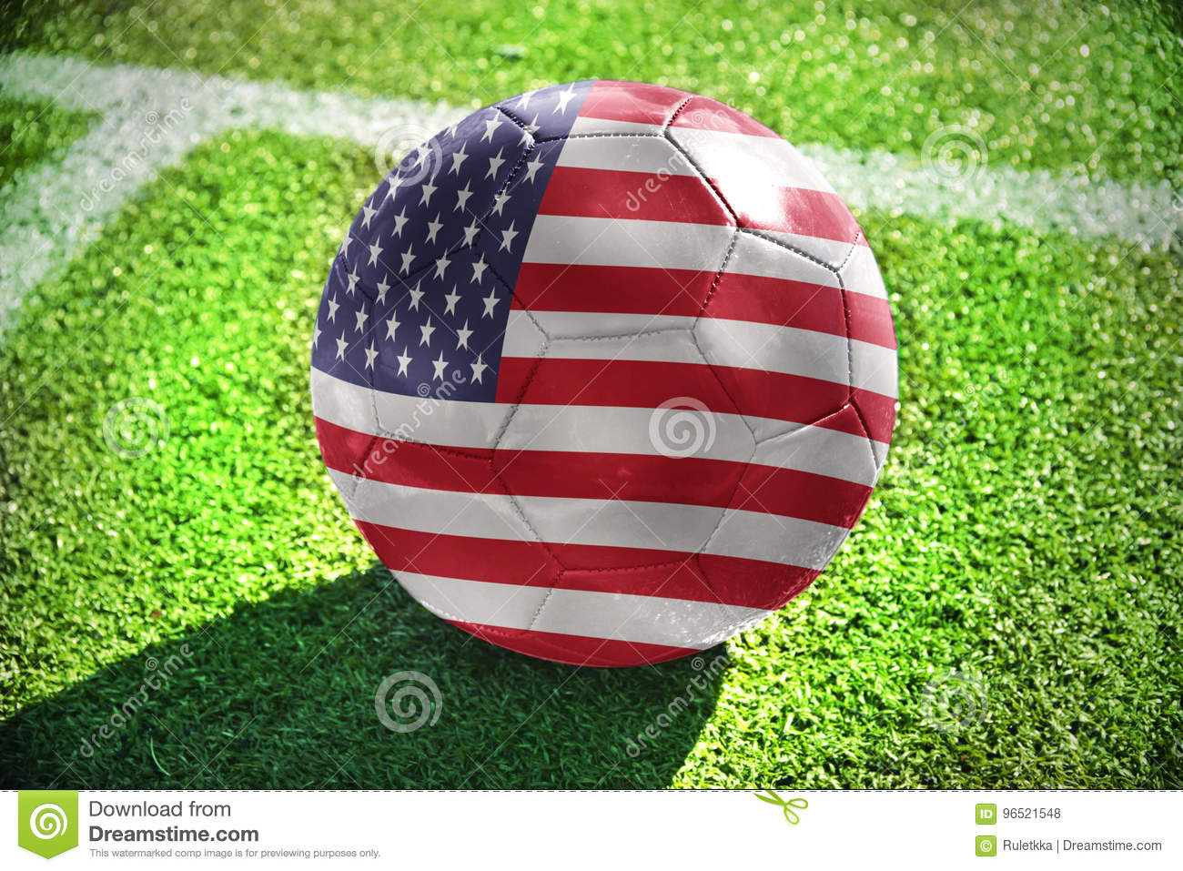 Football ball with the national flag of united states of america