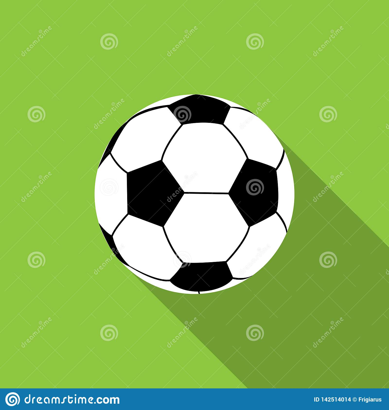 Football ball on green background.