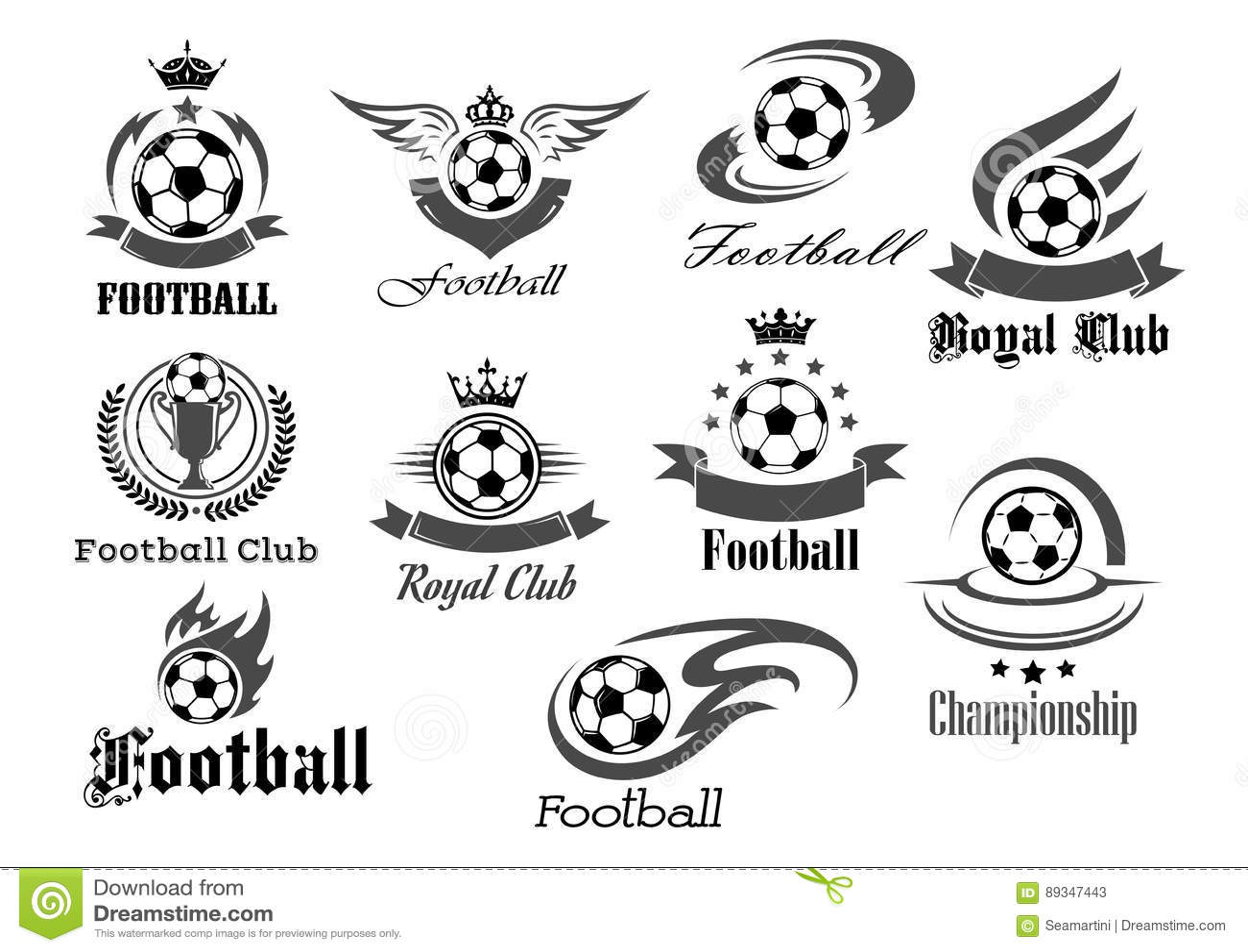 Football Ball Vector Icons For Royal Soccer Stock Vector