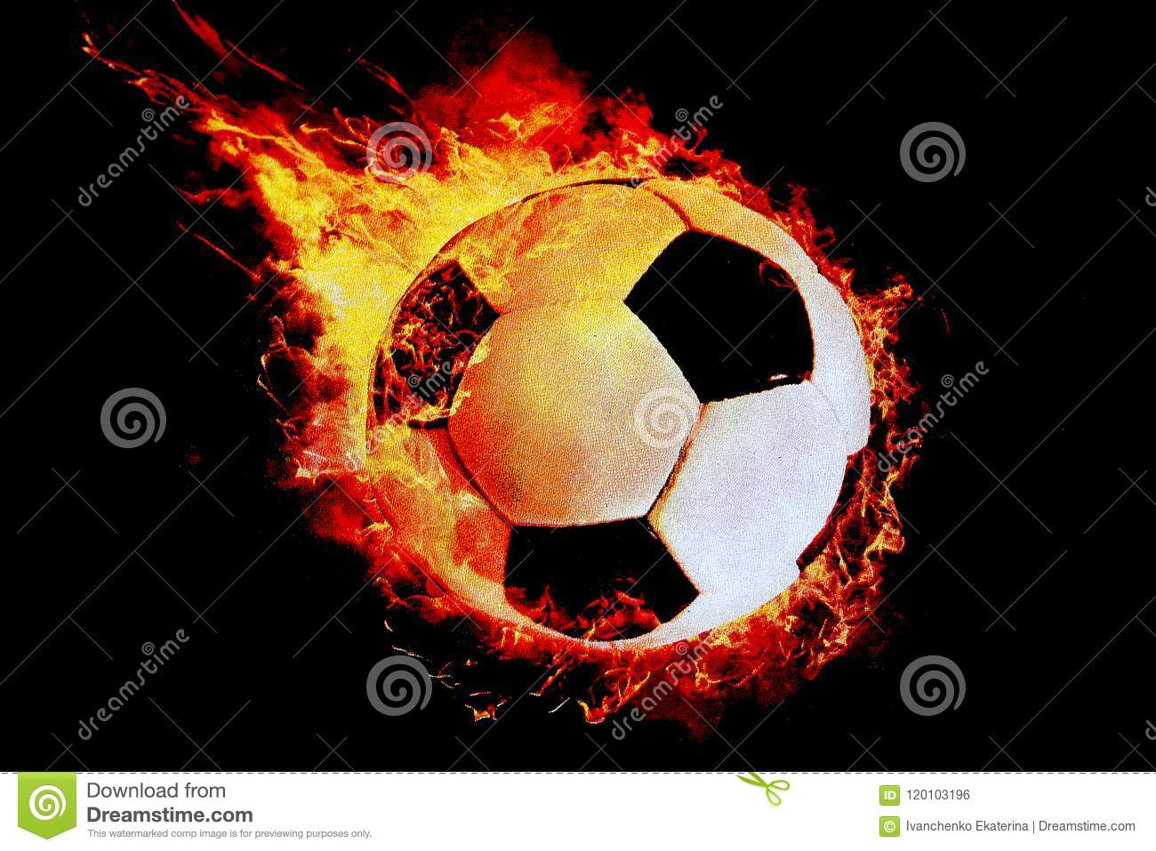 A football ball wrapped in fire flies on a black background!