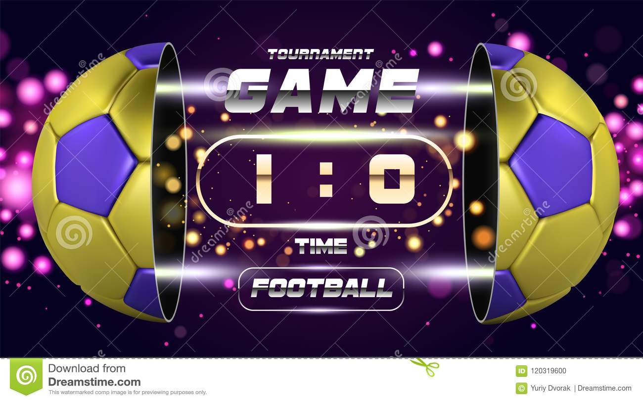 football banner poster or flyer design with golden blue 3d ball