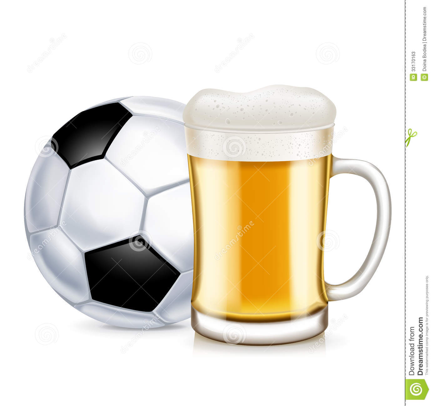 Football And Beer Glass With Handle Isolated Stock Photos - Image ...