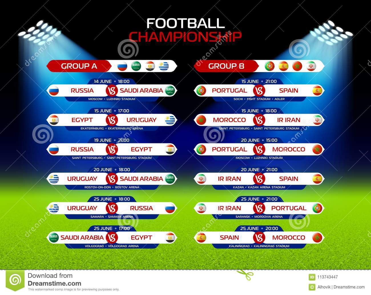 football championship match schedule in russia 2018 calendar template date time location