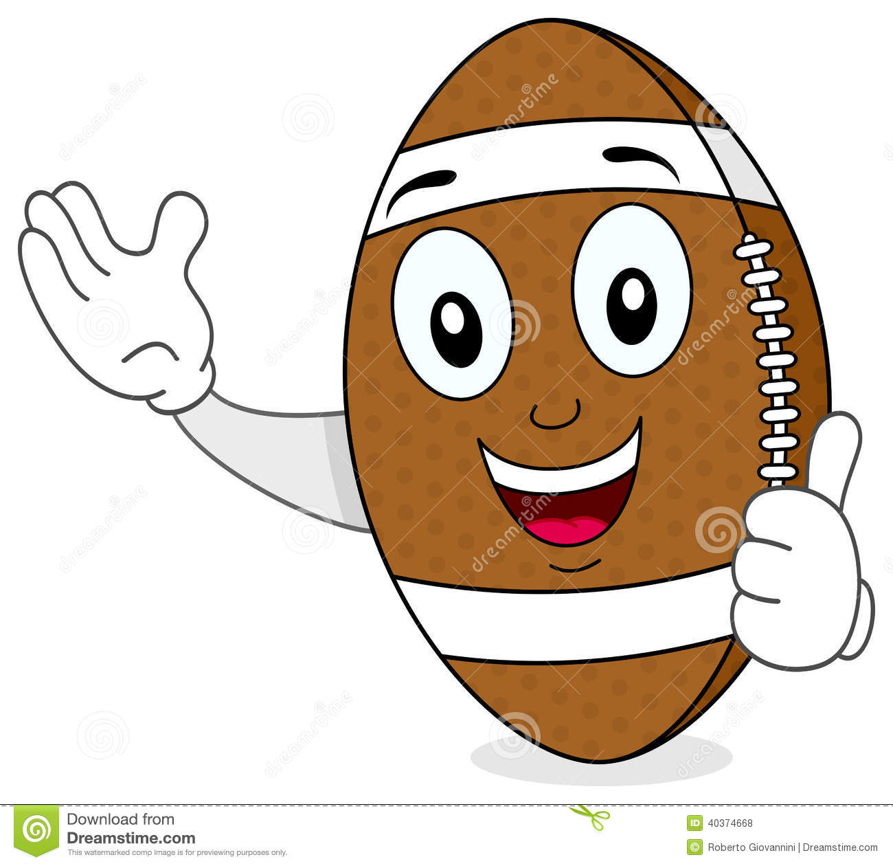 Football Character With Thumbs Up Stock Vector Illustration Of