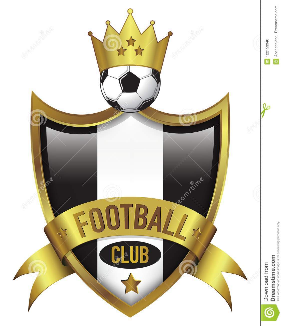 Football Club Logo Design With Gold Crown Stock Vector Illustration Of Pattern Logo 122153346