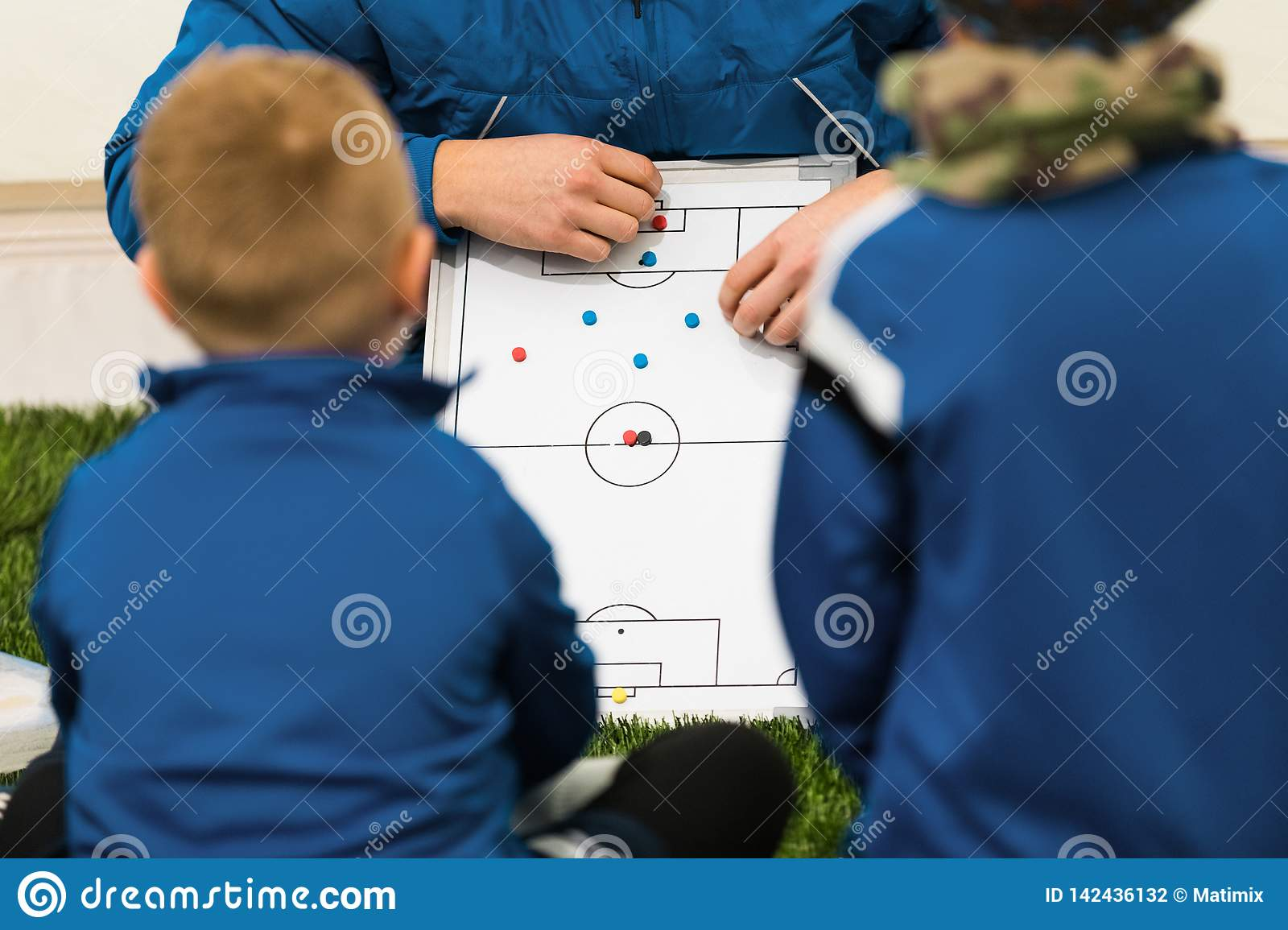 Football Coach Coaching Kids. Young Soccer Players Listening Coaches Tactics and Motivational Talk