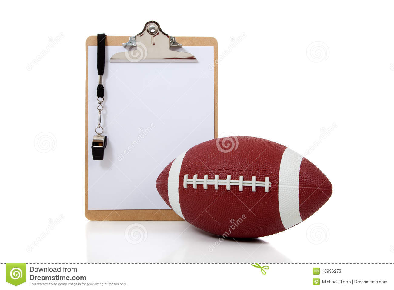 Football Coaches Clipboard with American Football