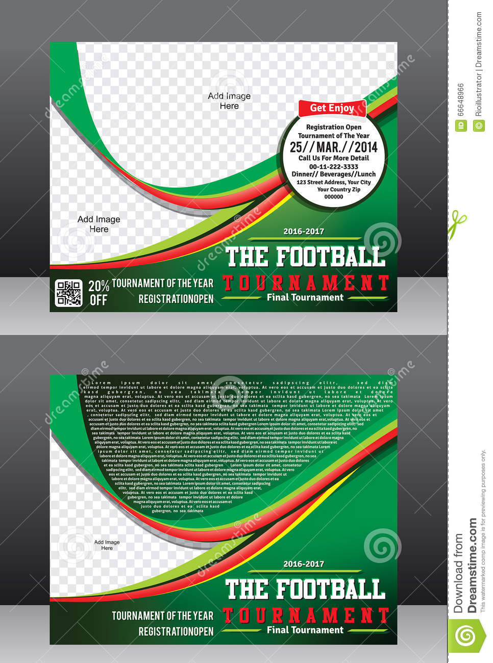 football cup tournament flyer template magazine design stock