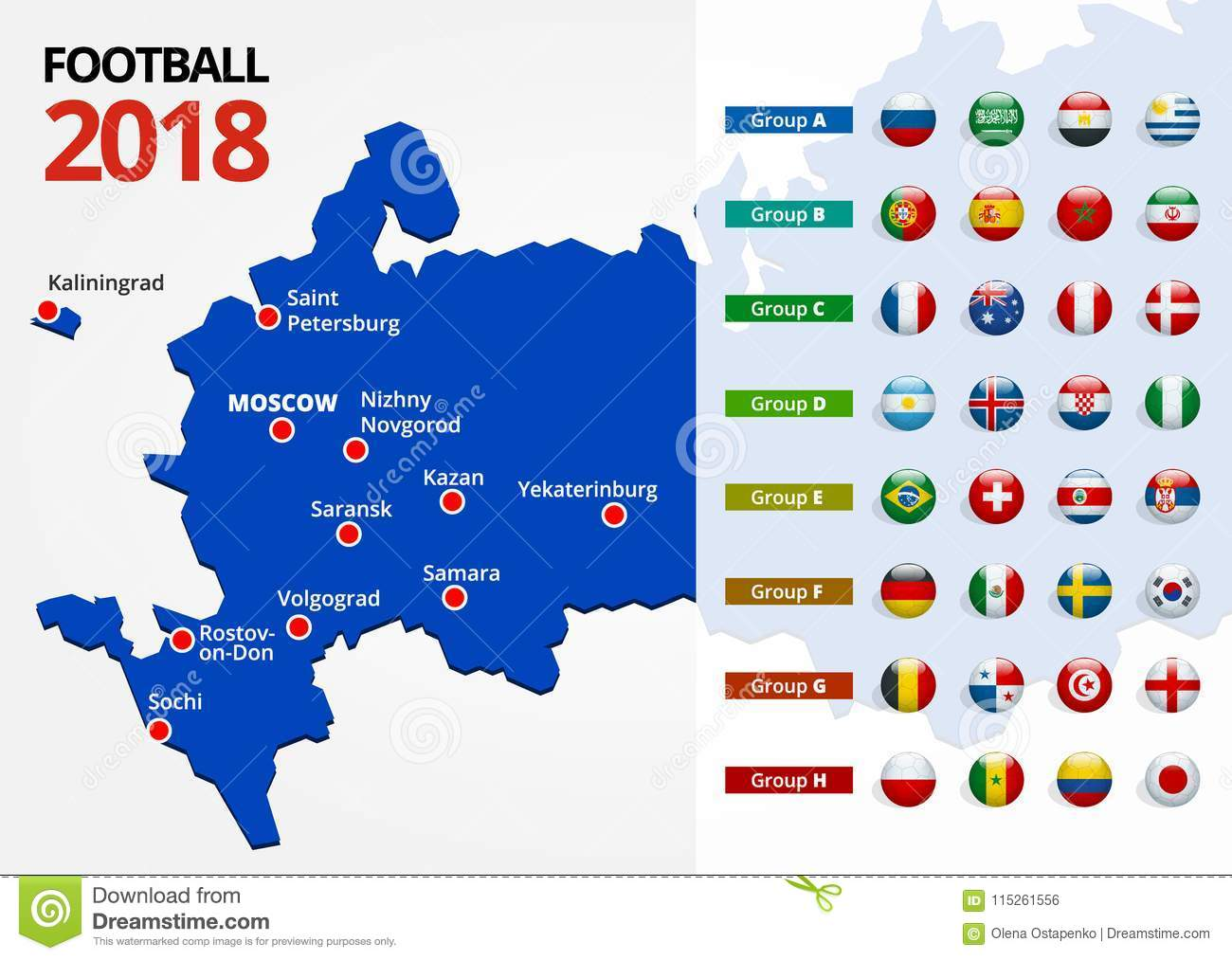 Football 2018, Europe Qualification, All Groups And Map With Russian ...
