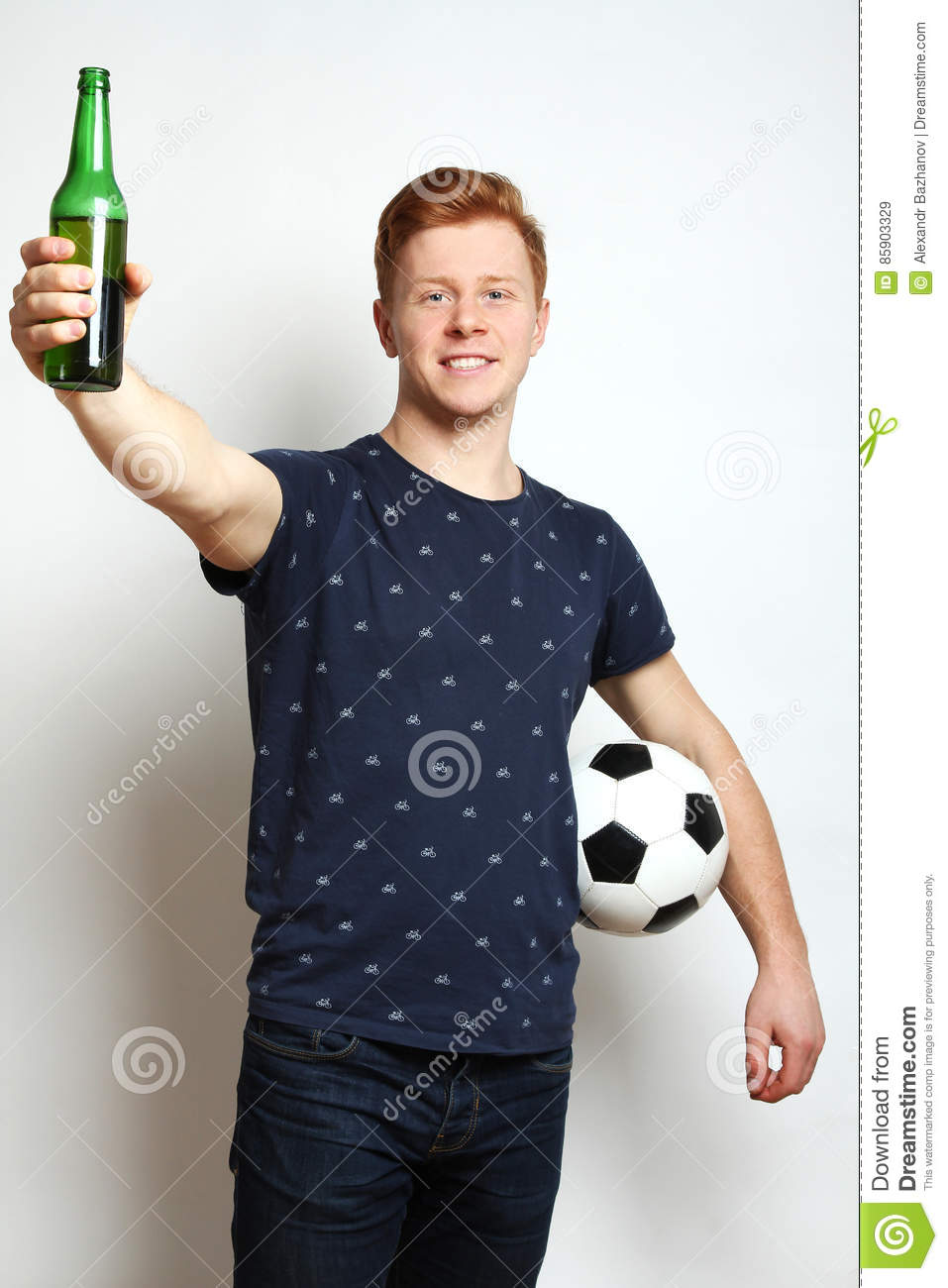 Football fan with beer