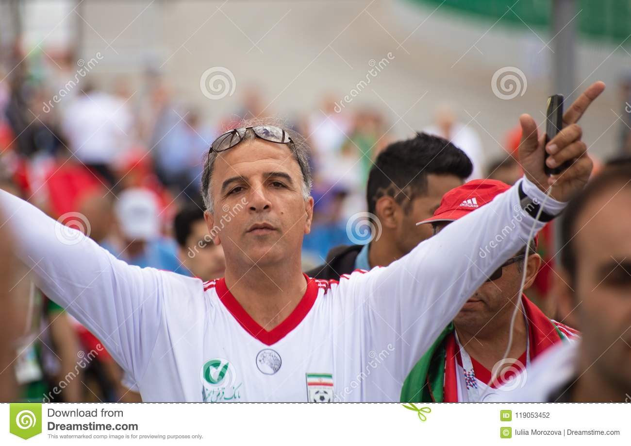 A football fan of Iran in white shirt at 2018 FIFA world cup in Russia 76acc4dd2