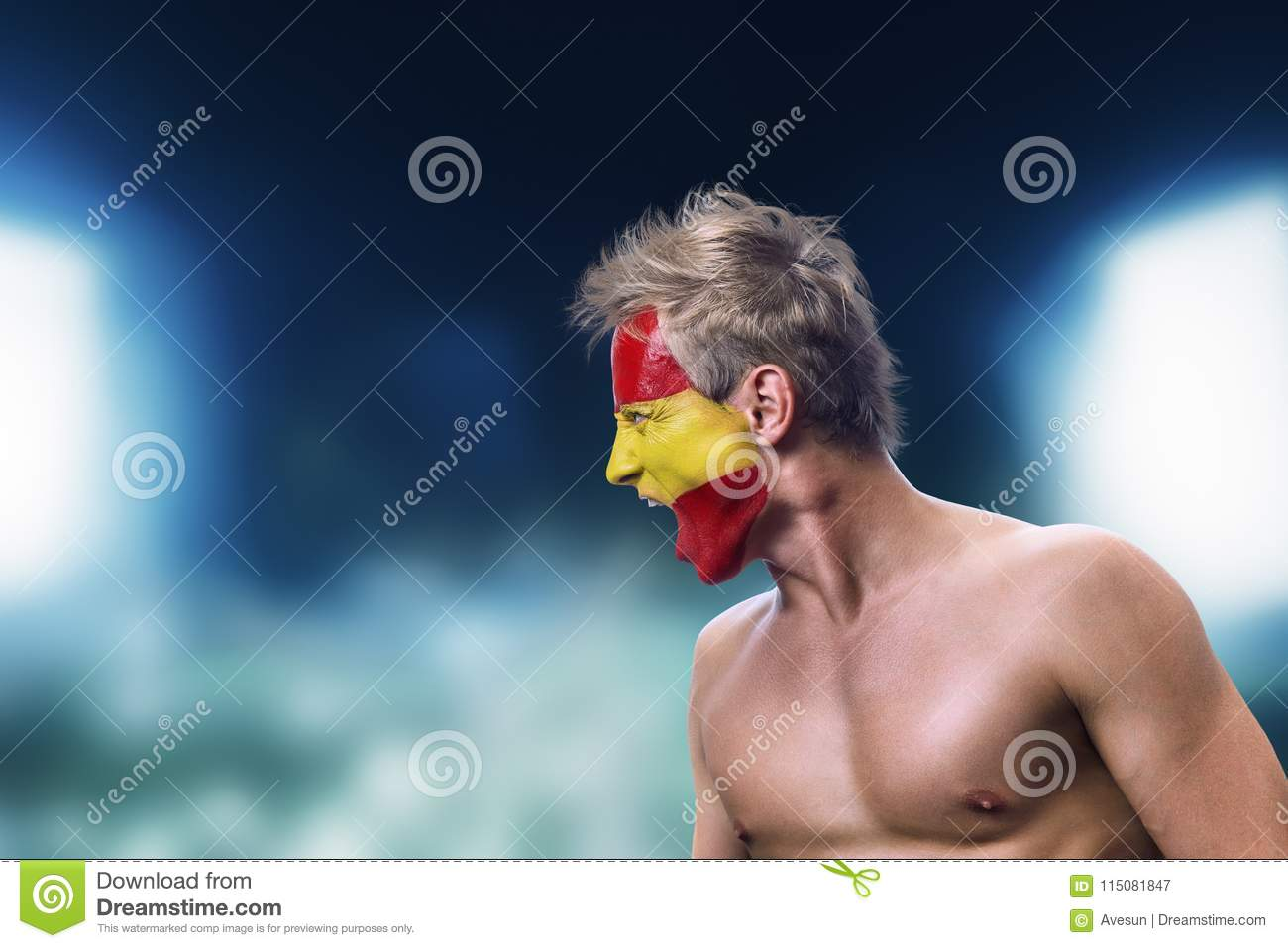 Football Fan With Spain Flag Painted On His Face Stock Image - Image