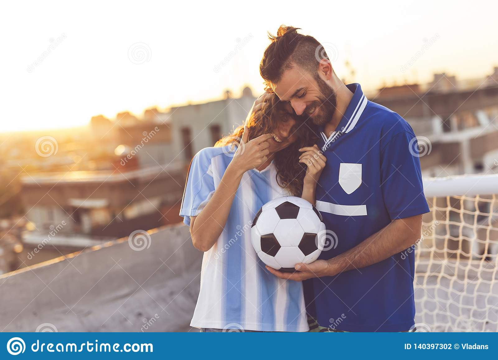 Football fans couple