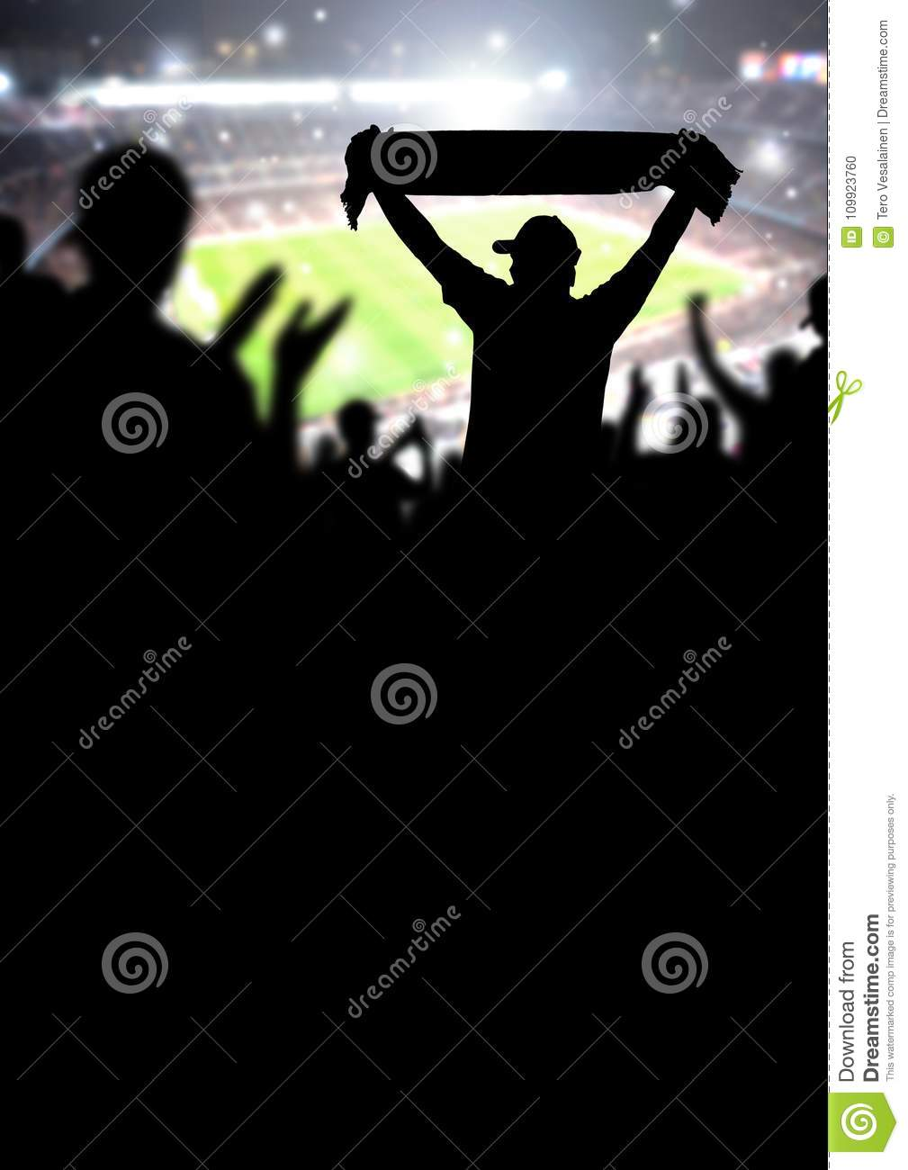 Football fans or soccer crowd background. Silhouette people in s