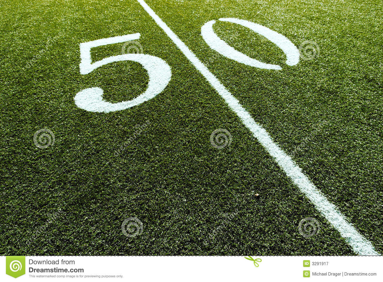 Football Field On 50 Yard Line Royalty Free Stock Photography  Image